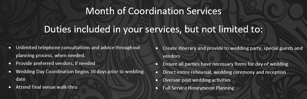 Atlanta Wedding Planners Month of Coordination Services